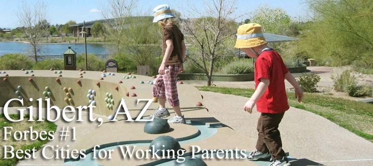 Children playing at Gilbert Riparian Preserve - Homes for Sale in Gilbert Arizona
