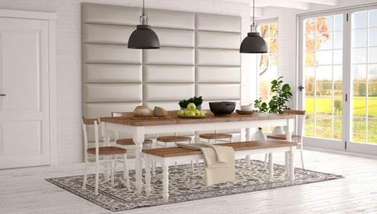 White luxury wall panels in white kitchen