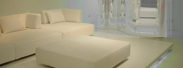 all white, boxy furniture, sofa, automan and mirror