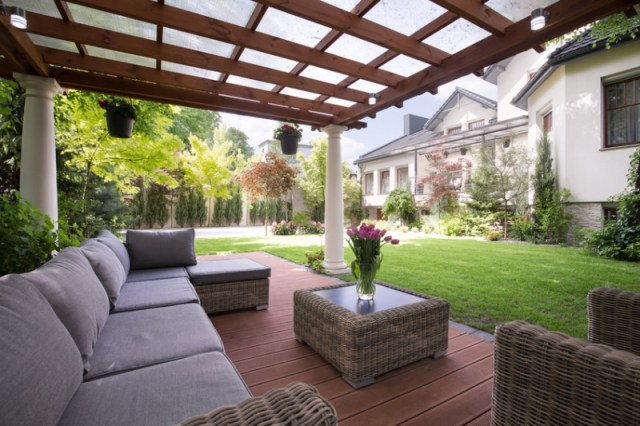 Comfortable Sofa and chairson a brick patio with covered Pergola - Outdoor Living Spaces, Decks and Patios, Decorating Outdoors - Bill Salvatore, Arizona Elite Properties 602-999-0952 - Arizona Real Estate