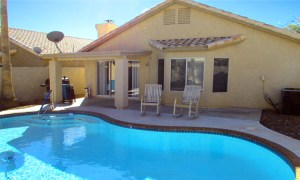 backyard pool and desert landscaping, covered and uncovered patio space - 4446 E Desert Wind Dr, Phoenix / Ahwatukee AZ - For Rent - easy-care desert back yard with pool - Bill Salvatore, Arizona Elite Properties -602-999-0952 - Elite Property Management