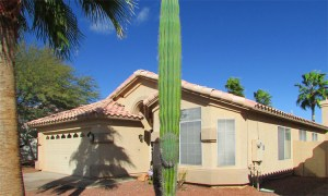 Angle view, front of home with 2-car garage - 4446 E Desert Wind Dr, Phoenix / Ahwatukee AZ - 3 bedroom home for rent - Bill Salvatore, Arizona Elite Properties -602-999-0952 - Elite Property Management