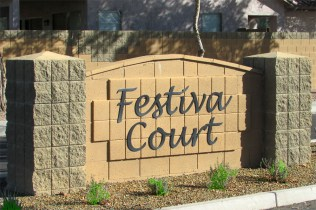 Neighborhood entrance monument for Festiva Court - 353 E Jasper Dr, Chandler Arizona - Festiva Court Community - Bill Salvatore, Arizona Elite Properties 602-999-0952 - Arizona Real Estate