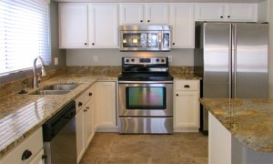 white cabinets, tile floor, stainless appliances and granite counters - 4446 E Desert Wind Dr, Phoenix / Ahwatukee AZ - For Rent - spacious island kitchen - Bill Salvatore, Arizona Elite Properties -602-999-0952 - Elite Property Management