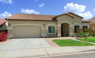 Single story home with 2-car garage, grassy front yard and paver patio - 1151 S Sandstone Street, Gilbert Arizona - 4 Bedroom, 3 Bath, Single Story Home for Sale - Bill Salvatore, Arizona Elite Properties 602-999-0952 - Arizona Real Estate