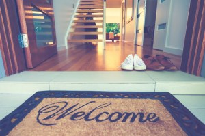 welcome mat in front of open front door - Tight Real Estate Market, Difficult Real Estate Market, Sellers Market, Rising Home Prices, Market Conditions - Bill Salvatore, Arizona Elite Properties 602-999-0952 - Arizona Real Estate