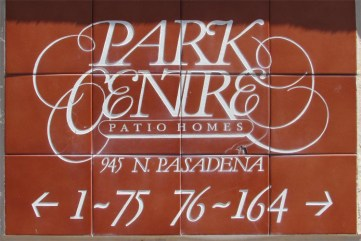 Parke Centre sign, red tile with white lettering saying Park Centre Patio Homes, 945 N Pasadena - 945 N Pasadena, Mesa AZ - Park Centre Patio Homes - Bill Salvatore, Arizona Elite Properties 602-999-0952 - Arizona Real Estate