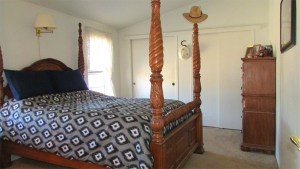 Large four-poster bed, tan carpet and white walls - Good size master bedroom with bath - 161 N 88th Place, Mesa AZ - Bill Salvatore, Arizona Elite Properties - Mesa Arizona property for sale