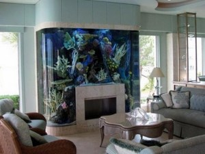 Fireplace completely surrounded by a gigantic aquarium - unusual living spaces - RIS aquatic Livingroom-Source: Rilane - Bill Salvatore, Arizona Elite Properties 602-999-0952 - Arizona Real Estate
