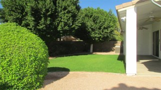 stone area with bushes, green grass, covered patio - Large Lot, Landscaped Back Yard - 1162 S Sandstone St, Gilbert AZ - Bill Salvatore, Arizona Elite Properties 602-999-0952 - Arizona Real Estate
