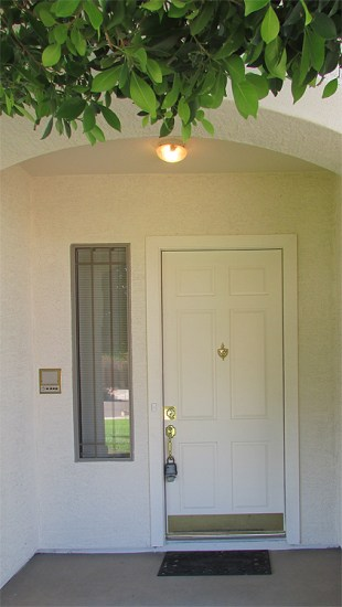 Front door with large window on left - Covered front entrance - 1162 S Sandstone St, Gilbert AZ - Bill Salvatore, Arizona Elite Properties 602-999-0952 - Arizona Real Estate