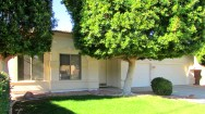 close up of front of home with large windows and shade trees - 2554 square foot, single level home for sale - 1162 S Sandstone St, Gilbert AZ - Bill Salvatore, Arizona Elite Properties 602-999-0952 - Arizona Real Estate