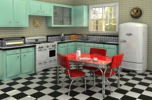 1950's style kitchen with black and white checked floor, mint green cabinets, retro refrigerator, formica table with vinyl chairs - vintage kitchen, retro kitchen, home remodeling - Bill Salvatore, Arizona Elite Properties 602-999-0952 - Arizona Real Estate