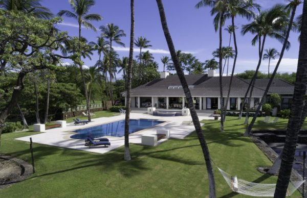 backof home with sparkling swimming pool - pool with a view - Honuala'i Estate on the Big Island of Hawaii, Hawaiian Luxury Real Estate, Homes for Sale in Hawaii, via RIS Media Housecall - Bill Salvatore, Arizona Elite Propeties 602-999-0952 - Arizona Real Estate