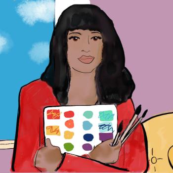 Woman holding an art journal