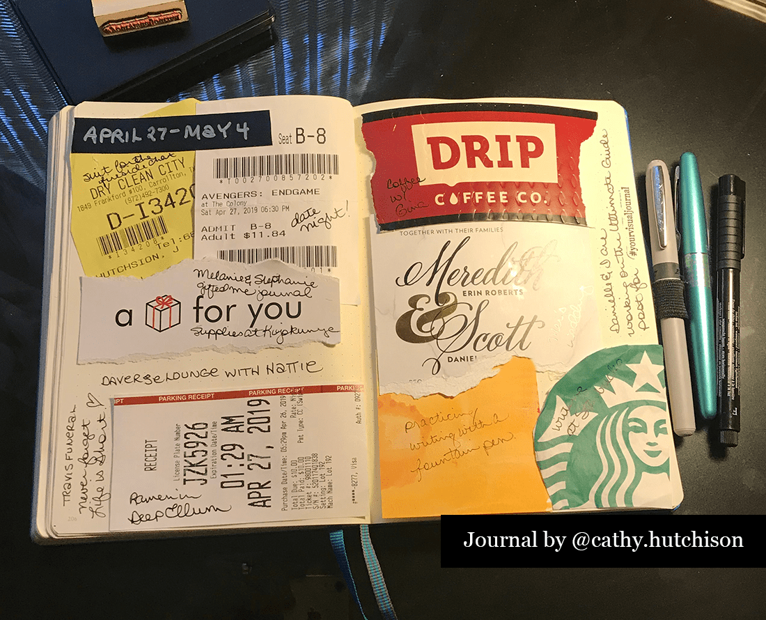 Photo of a gluebook journal by Cathy Hutchison where the spread is a collage of ephemera and receipts
