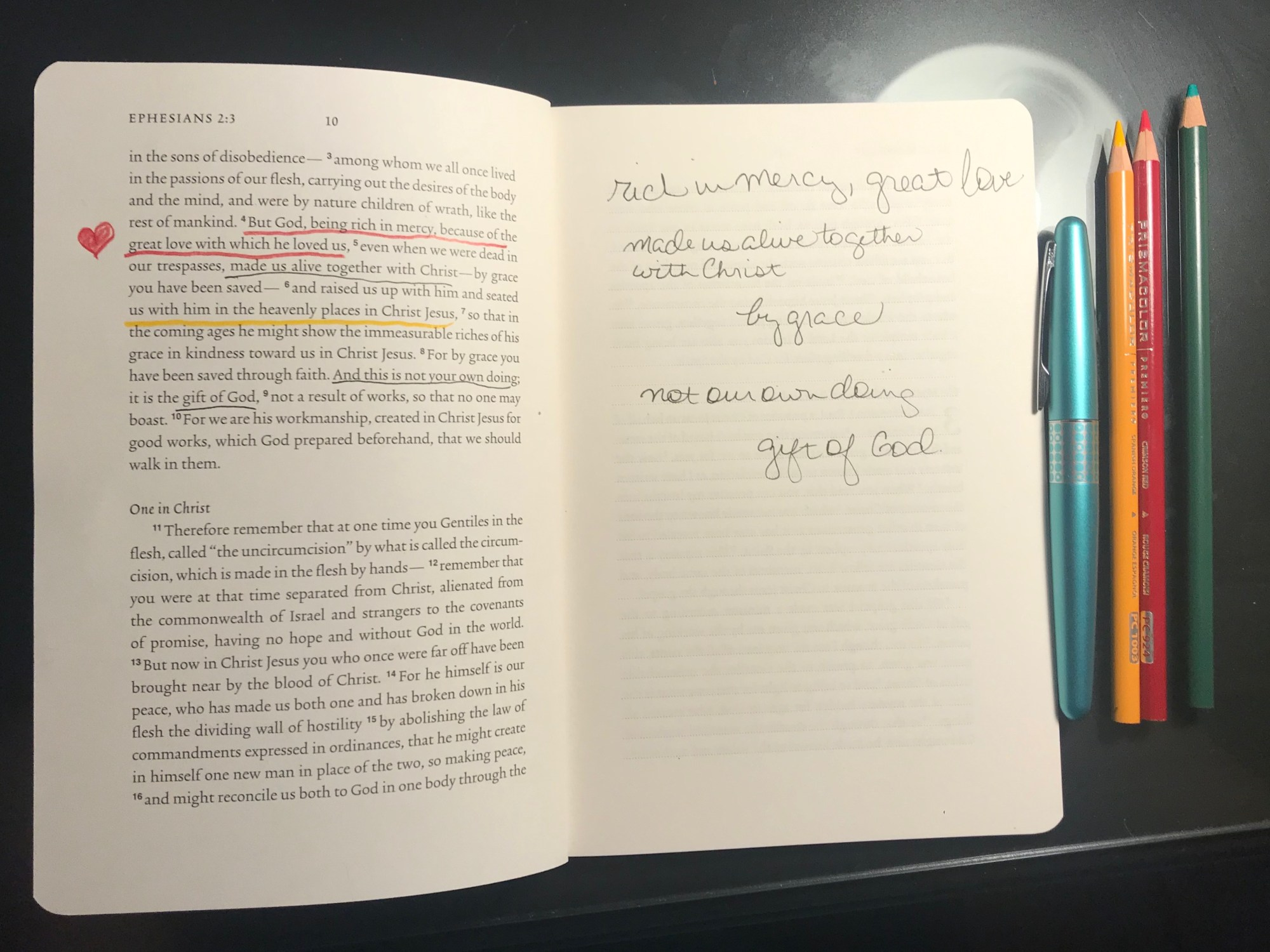 Crossway makes scripture journals with blank pages across from the text giving you freedom to underline, draw, and capture insights.