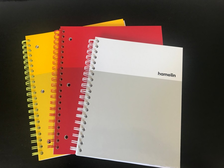 3 Hamelin Journals Yellow, Red, and White