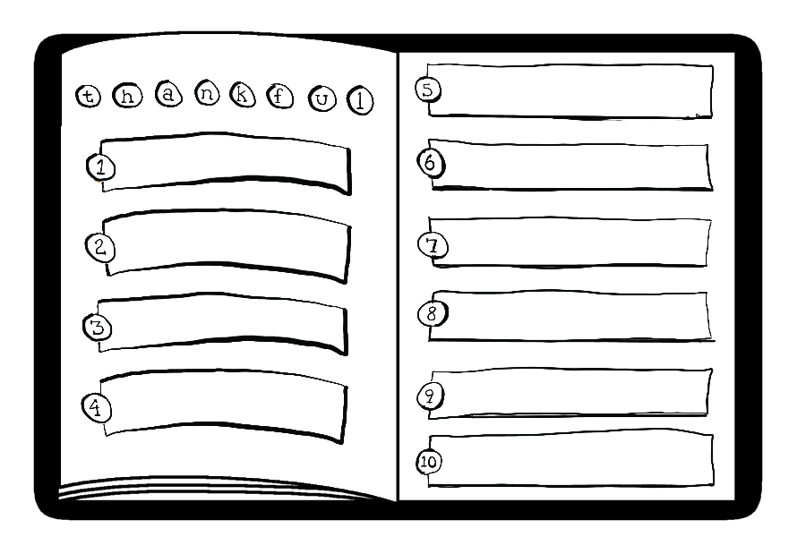Layout option for the gratitude journal.