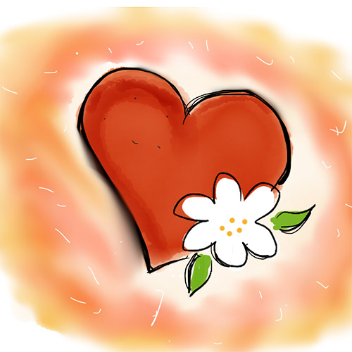 Red heart with white flower on watercolor background to represent mindfulness journal prompts.  Image by Cathy Hutchison