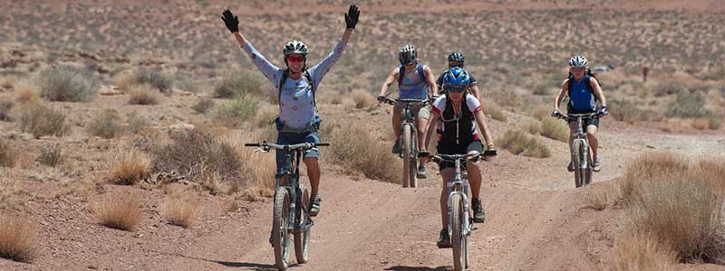 bicycling desert people
