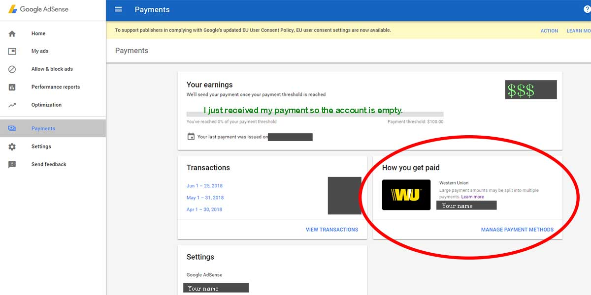 adsense payment page