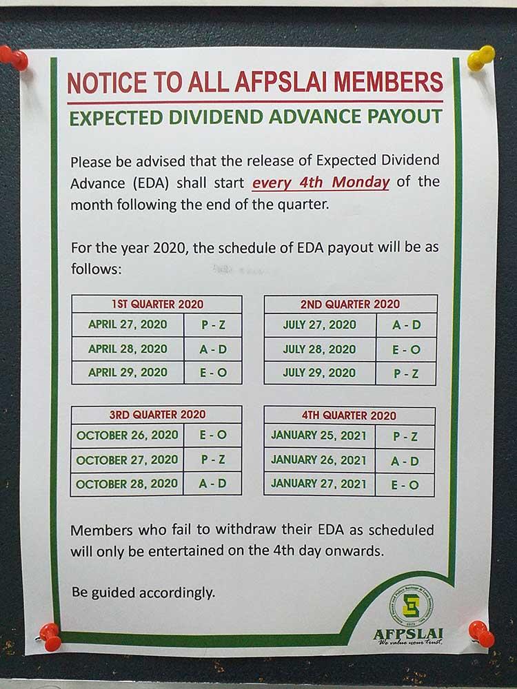 Afpslai Dividend Schedule For 2020 Your Wealthy Mind
