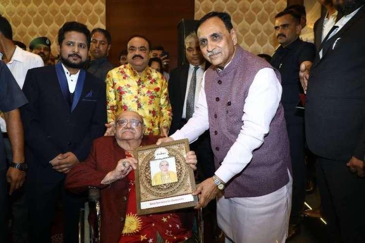 Receiving the Eminence awards 2019 by Chief Minister of Gujarat Shri Vijay Rupani