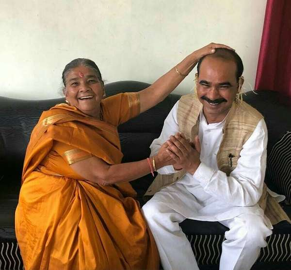 Ajay Tamta with his mother