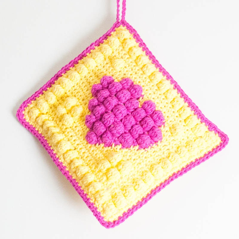 Crochet Bobble Heart Potholder You Should Craft