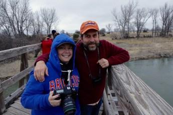 Sandhill cranes on the Platte River observers