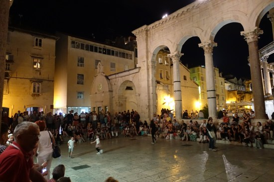 Split Diocletian's Palace at night