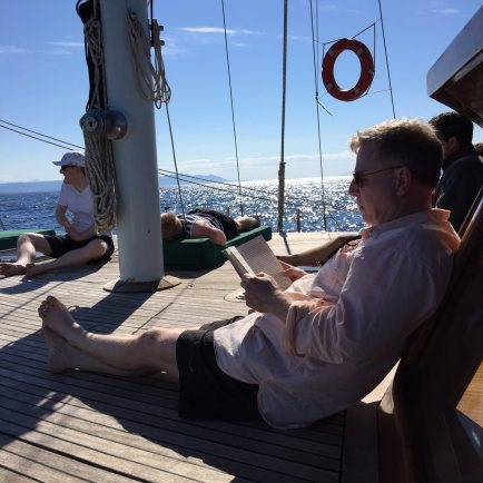 Queen of the Adriatic reading on deck