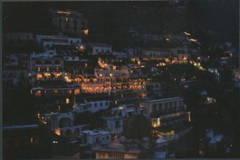 Positano at night view from Casa Cosenza