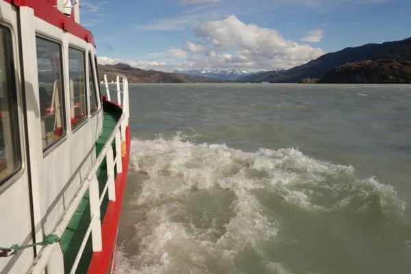 Torres del Paine Grey's Glacier boat on lake