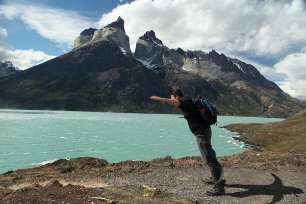 Torres del Paine National Park leaning into wind