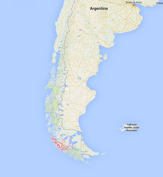 Torres del Paine National Park Chile map