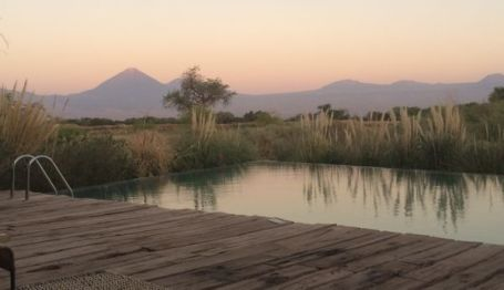 Tierra Atacama pool at dusk