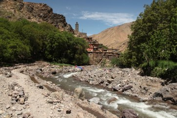 Hiking in the High Atlas river flow