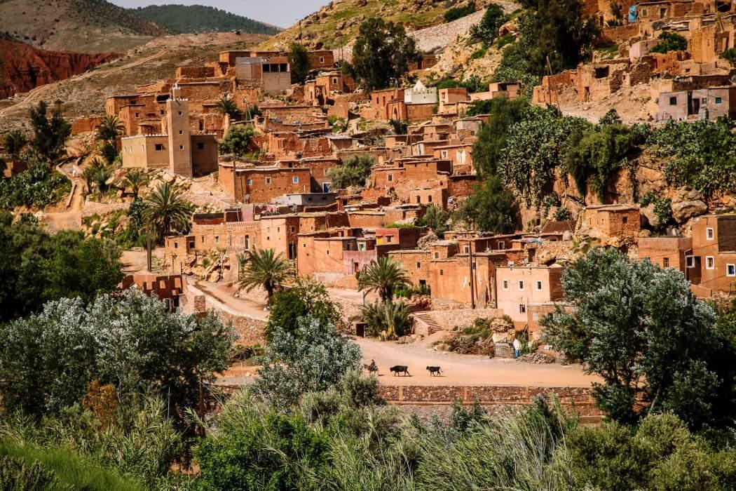 Moroccan village road to Atlas Mountains