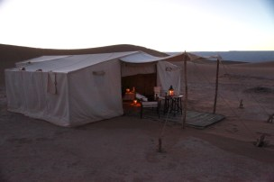 Dar Ahlam Tent Camp private tent at dusk