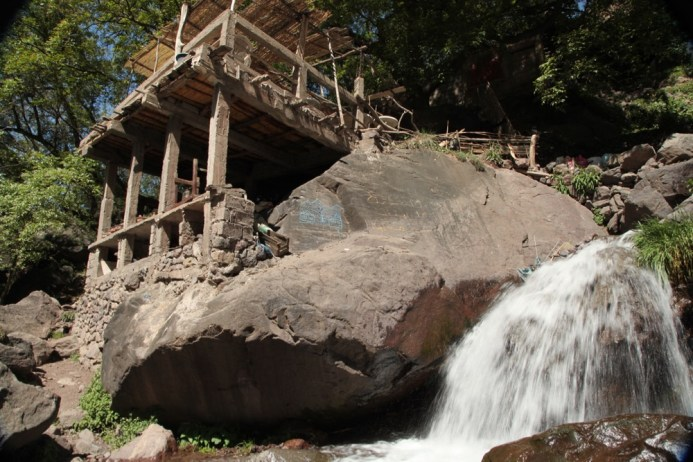 Trek in High Atlas waterfall restaurant