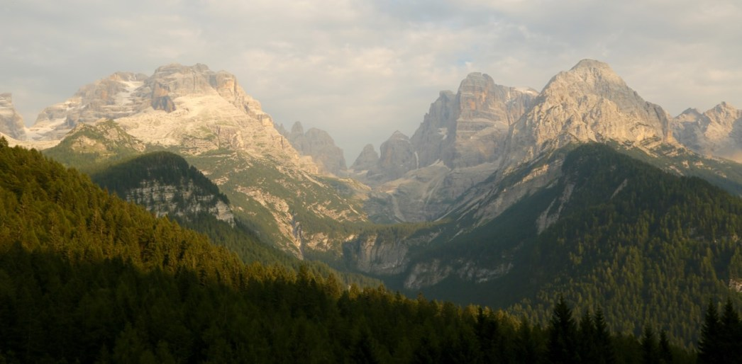 Brenta range in the Dolomites at sunset