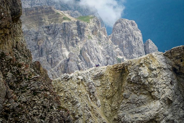 From up high, you can see others taking the via ferrata down the mountain. Crazy looking!