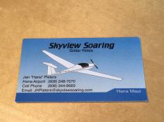 Skyview Soaring Hana business card