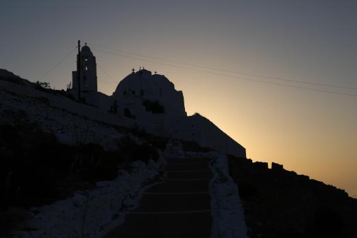 Chora Folegandros sunrise at church