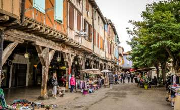 Mirepoix Languedoc shop stalls market day