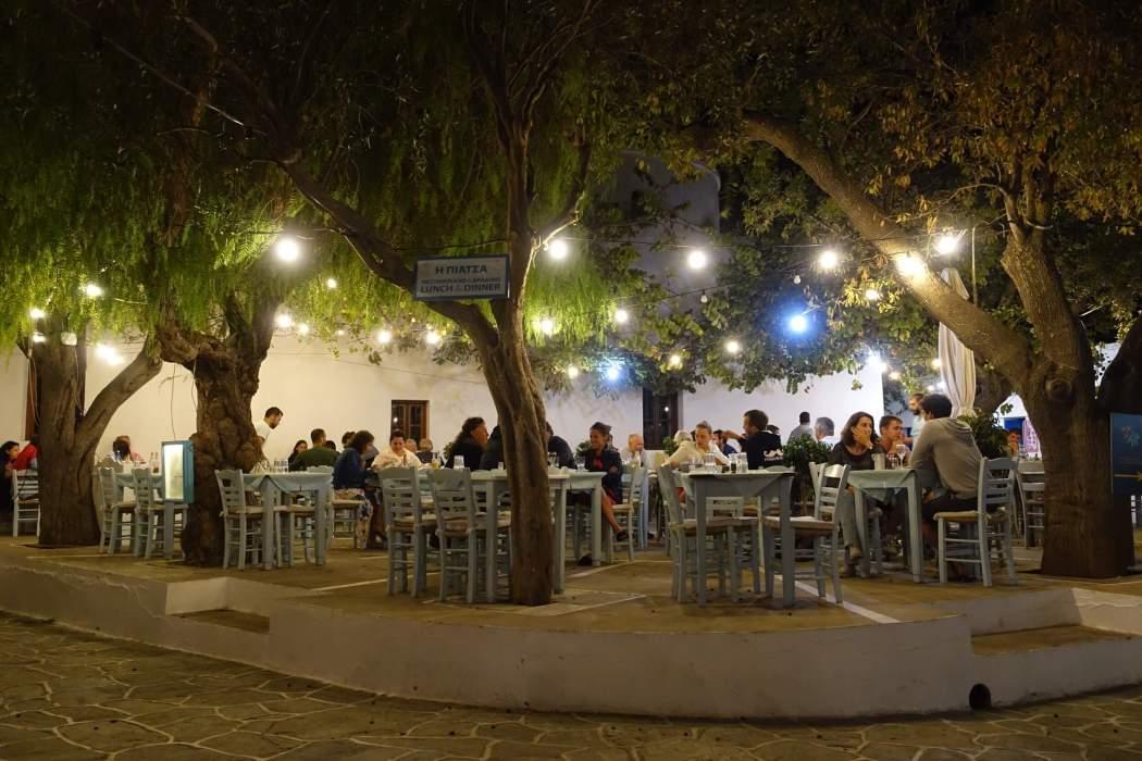 Chora Folegrandros restaurant at night