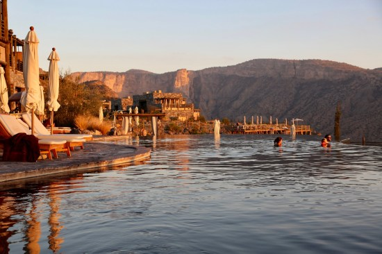 Alila Jabal Akhdar pool at sunset