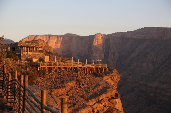 Alila Jabal Akhdar restaurant at sunset